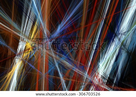 Abstract fractal beautiful colorful lines on black background