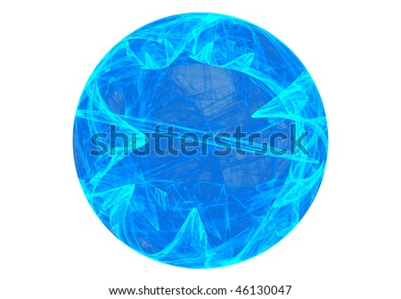 Abstract fractal depiction of a planet of ice - stock photo