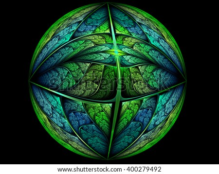 Abstract fractal earth planet, digital artwork for creative graphic design - stock photo