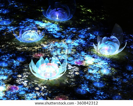 Abstract fractal flower - water lily, digital artwork for creative graphic design