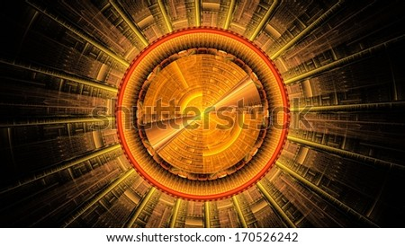 Abstract fractal forming a strange geometric pattern reminiscent of abstract orange sun
