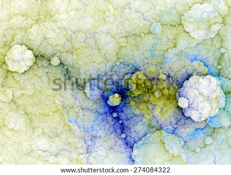 Abstract fractal high resolution background with a detailed lightning pattern creating interconnected discs, all in high resolution and in pastel yellow,green,blue,purple colors - stock photo