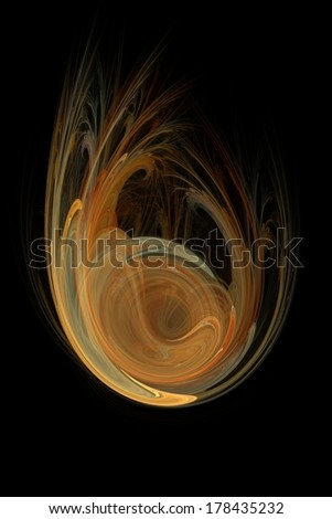 Abstract fractal illustration of a globe falling over a black background. - stock photo