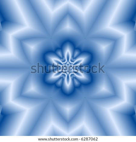 Abstract fractal kaleidoscope in blue resembling snowflake. - stock photo