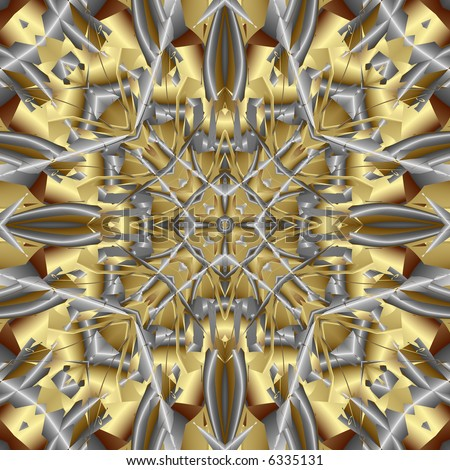 Abstract fractal kaleidoscope in silvery gray and gold. - stock photo