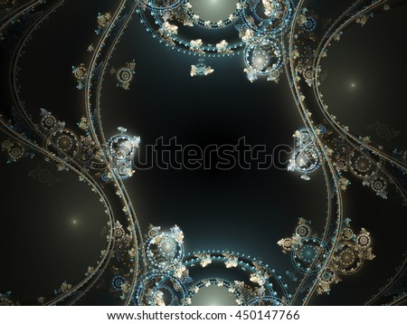 Abstract fractal machine wheels, digital artwork for creative graphic design