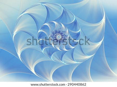 Abstract fractal nautilus background with blue shell - stock photo