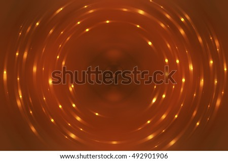 Abstract fractal orange background with crossing circles and ovals. disco lights. motion illustration.