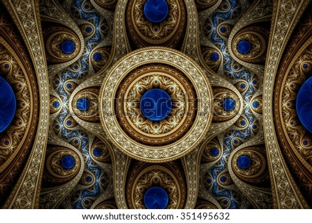 Abstract fractal pattern, symmetric royal background with diamonds. Creative graphic design. - stock photo