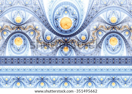 Abstract fractal pattern, symmetric royal blue background with brilliants. Interesting creative graphic design. - stock photo