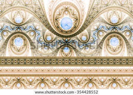 Abstract fractal pattern, symmetric royal gold background with blue diamonds. Interesting creative graphic design. - stock photo
