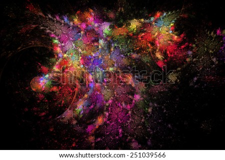 Abstract fractal patterns and shapes that look like oil painting. Fractal texture. - stock photo