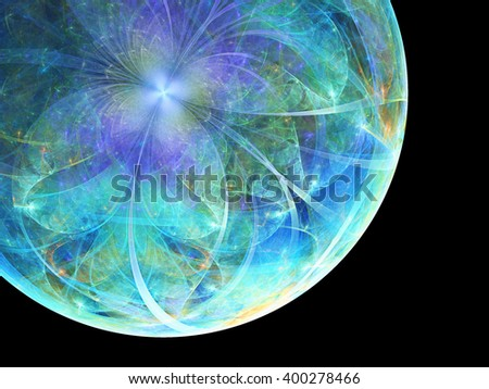 Abstract fractal planet earth, digital artwork for creative graphic design - stock photo