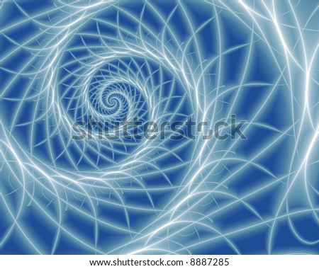Abstract fractal spiral with white filaments on blue background.