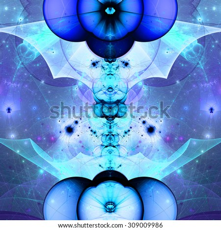 Abstract fractal star tower background with a detailed decorative star pattern and abstract wavy interconnected arches and beams, all in bright vivid shining blue,cyan,purple - stock photo