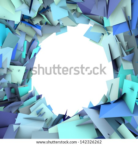abstract fragment blue spiked shape on white - stock photo