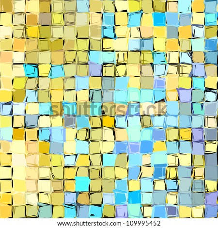 abstract fragmented pattern in blue yellow - stock photo