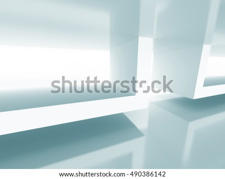 Abstract Futuristic Architecture Background. White Building Design. 3d Render Illustration