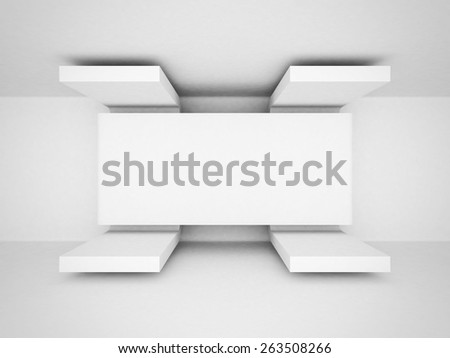 Abstract Futuristic Architecture White Clean Background. 3d Render Illustration - stock photo