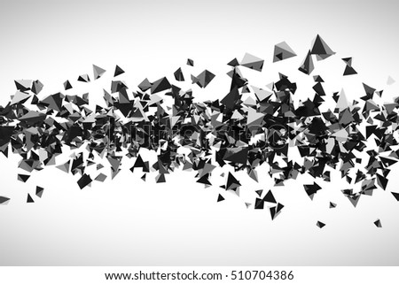 Abstract futuristic background made of red chaotic flying  pyramids. 3d rendering.
