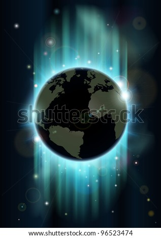 Abstract futuristic background with earth and stars in blues and greens - stock photo