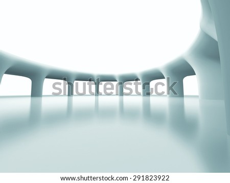 Abstract Futuristic Column Architecture Background. 3d Render Illustration - stock photo