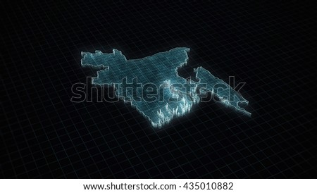 Abstract futuristic concept 3d illustration map background of Bangladesh.