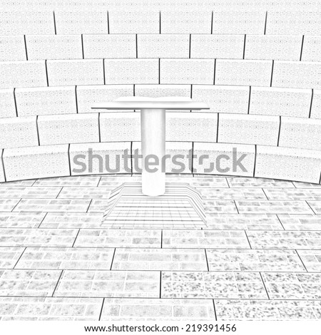 Abstract futuristic interior. Brick scene with cathedral and tribune. Pencil drawing  - stock photo