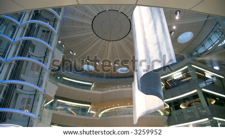 abstract futuristic public hall interior, view from below to spherical roof - stock photo