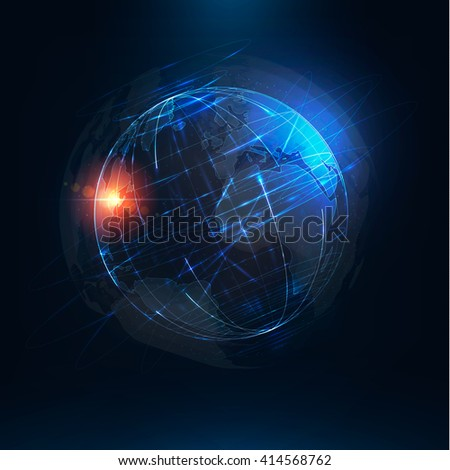 Abstract futuristic realistic earth . Sci Fi globe at motion . Global network connection . 3d planet . International communication . Technology background illustration - stock photo