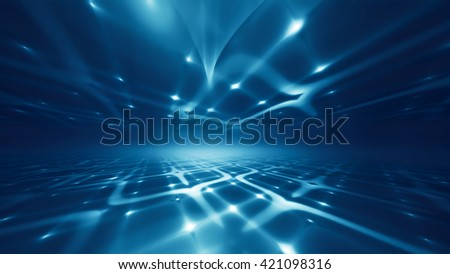 Abstract futuristic technology background with fractal horizon - stock photo