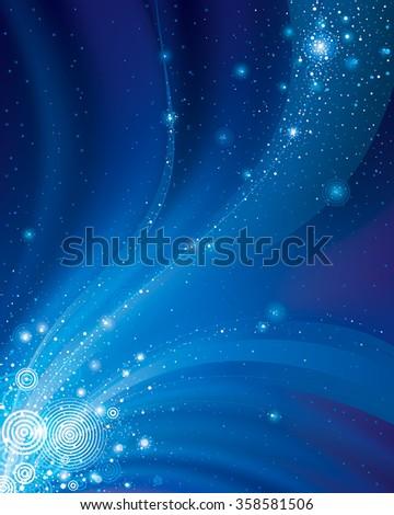 Abstract galaxy dark blue background.  - stock photo