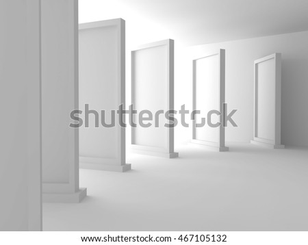 Abstract Gallery Background with Many Standing Frames. 3d Render Illustration