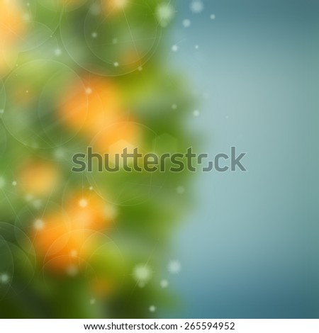abstract garden background with blue, green and orange