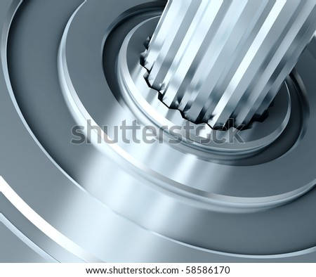 Abstract gear close-up. 3D illustration. - stock photo
