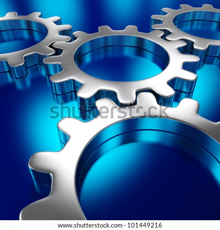 Abstract gears on the blue background - stock photo