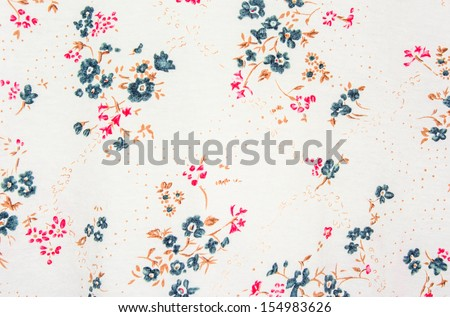 abstract general old style blue and red flower textile pattern detail - stock photo