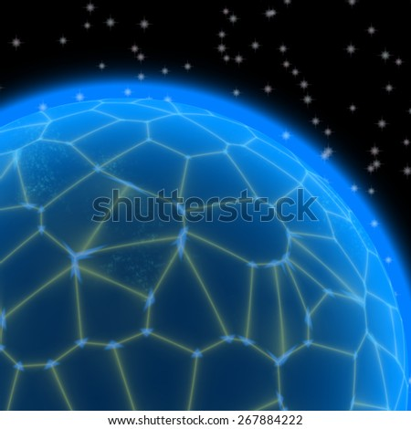 Abstract generated blue planet with yellow net on black sky with stars - stock photo