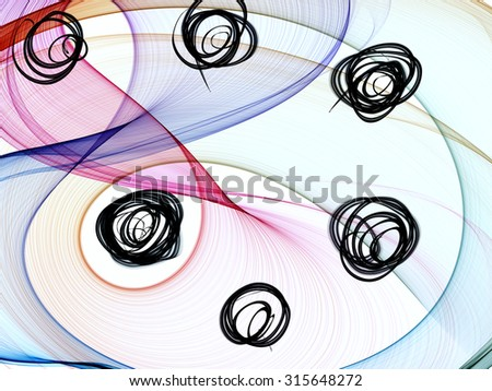 Abstract generated colorful graphic shiny pattern white background - stock photo