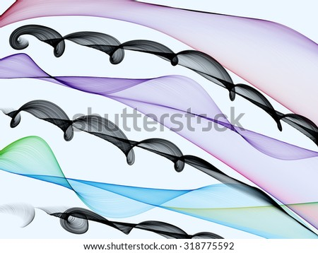 Abstract generated colorful wave pattern over white background - stock photo