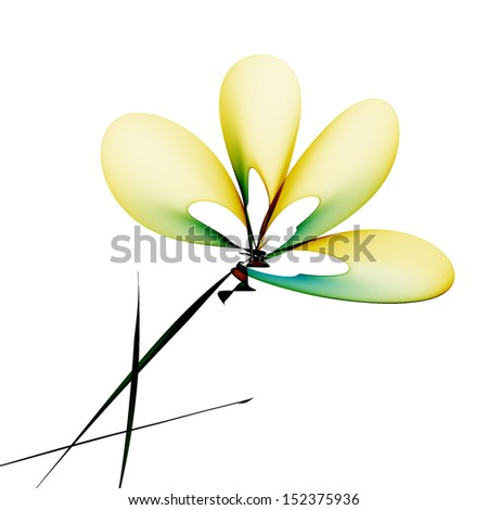 Abstract generated painted flower over white background - stock photo