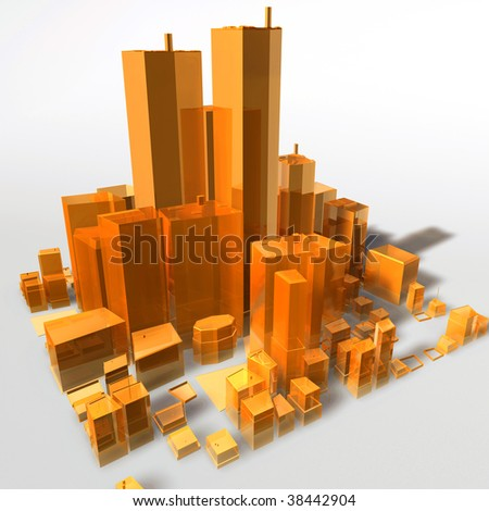 Abstract generic city with modern office buildings illustration