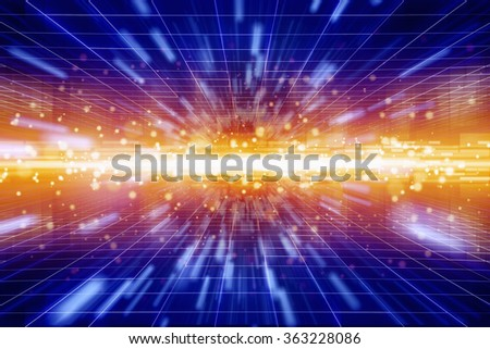 Abstract geometric background - bright red light from glowing horizon, speed concept - stock photo