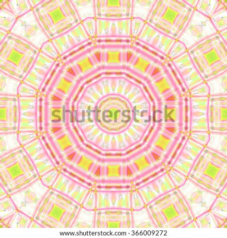 Abstract geometric background, seamless circle pattern, pink violet ornament with square elements lime green, ornate and extensive  - stock photo