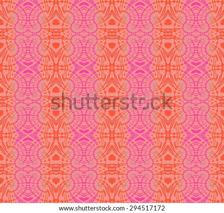 Abstract geometric background, seamless ornate circles and diamond pattern in orange shades with pink spiral elements  - stock photo