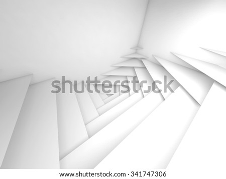 Abstract geometric background. White layers pattern and soft shadows, 3d illustration - stock photo