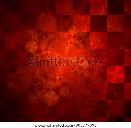 Abstract geometric background with columns and rows of squares and a star-like distorted pattern mixed in to, all in glowing red - stock photo