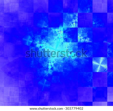 Abstract geometric background with columns and rows of squares and a star-like distorted pattern mixed in to, all in bright vivid blue,purple,teal - stock photo