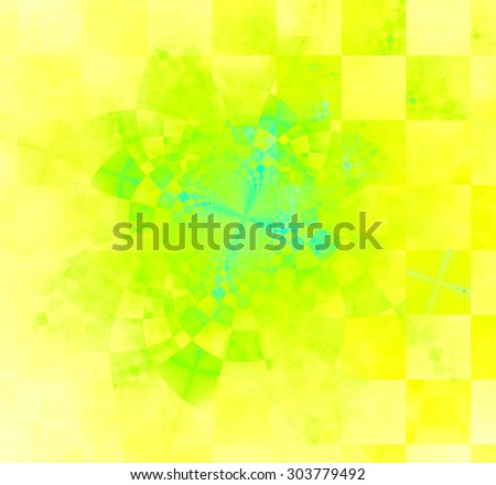 Abstract geometric background with columns and rows of squares and a star-like distorted pattern mixed in to, all in bright vivid yellow,green,blue - stock photo