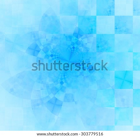 Abstract geometric background with columns and rows of squares and a star-like distorted pattern mixed in to, all in light pastel cyan - stock photo
